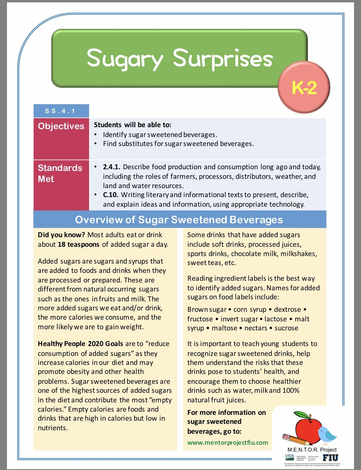 Sugar Sweetened Beverages Social Science Lesson Plan For