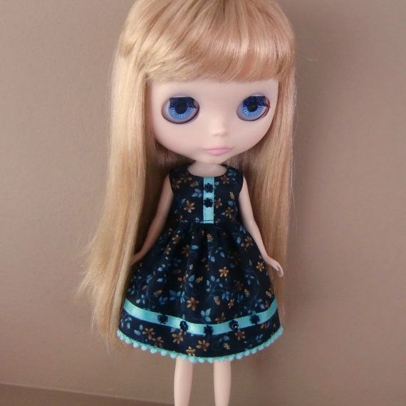 Black & Turquoise Summer Dress for Blythe by myfairdolly on Etsy, $14.00