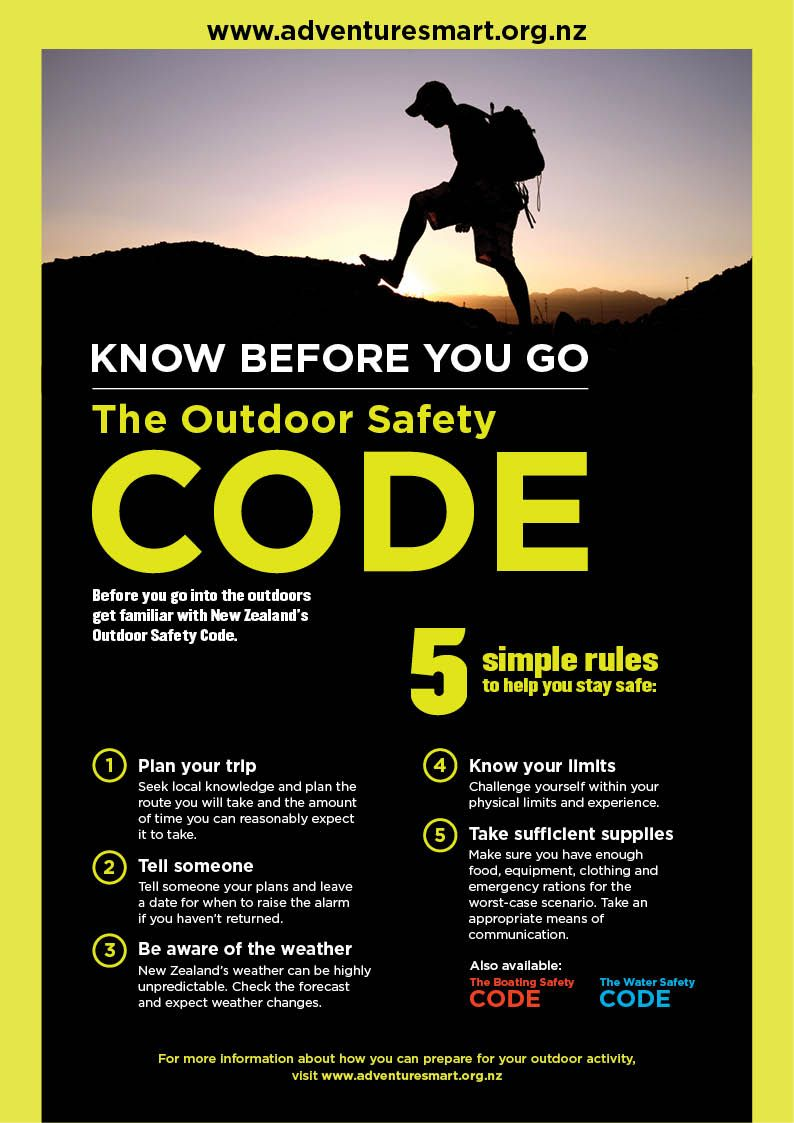 The Outdoor Safety Code developed by the New Zealand