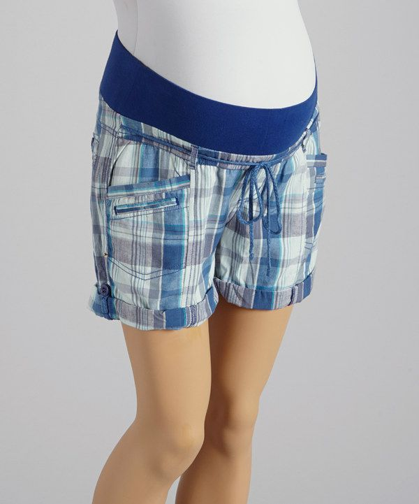 This Oh! Mamma Blue Plaid Under-Belly Maternity Shorts - Women by Oh! Mamma is perfect! #zulilyfinds