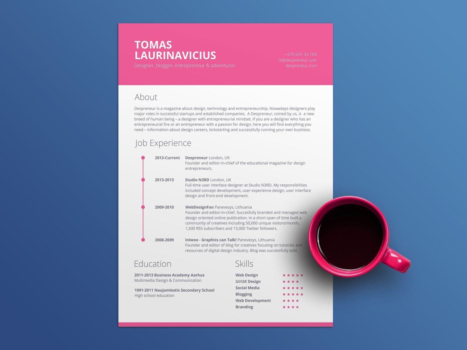 Free Pink CV Resume Template - Cv resume template, Resume template, Resume design template, Resume template free, Templates, Resume - 30vIg3G