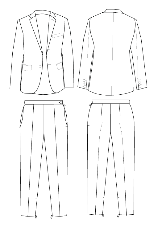 Front and Back illustrator flat drawing of a suit jacket