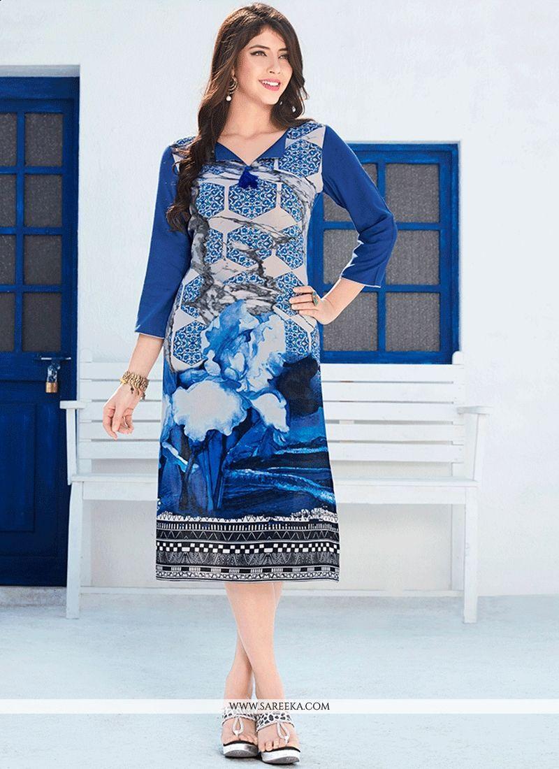 Rayon Multi Colour Print Work Party Wear Kurti | Kurti, Party wear ...