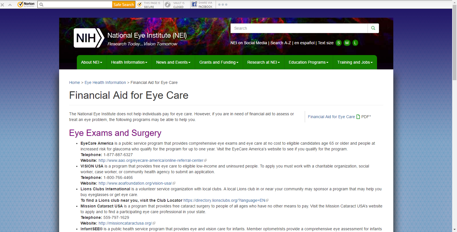Financial Aid For Eye Care National Eye Institute Eye Care