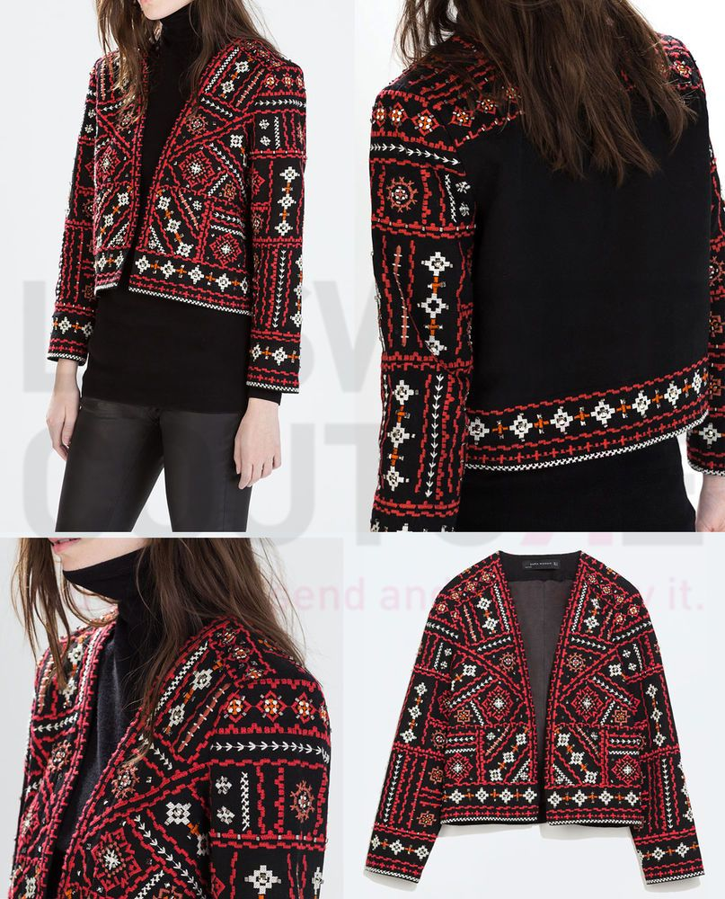 Zara women collection ss ethnic embroidered jacket ref
