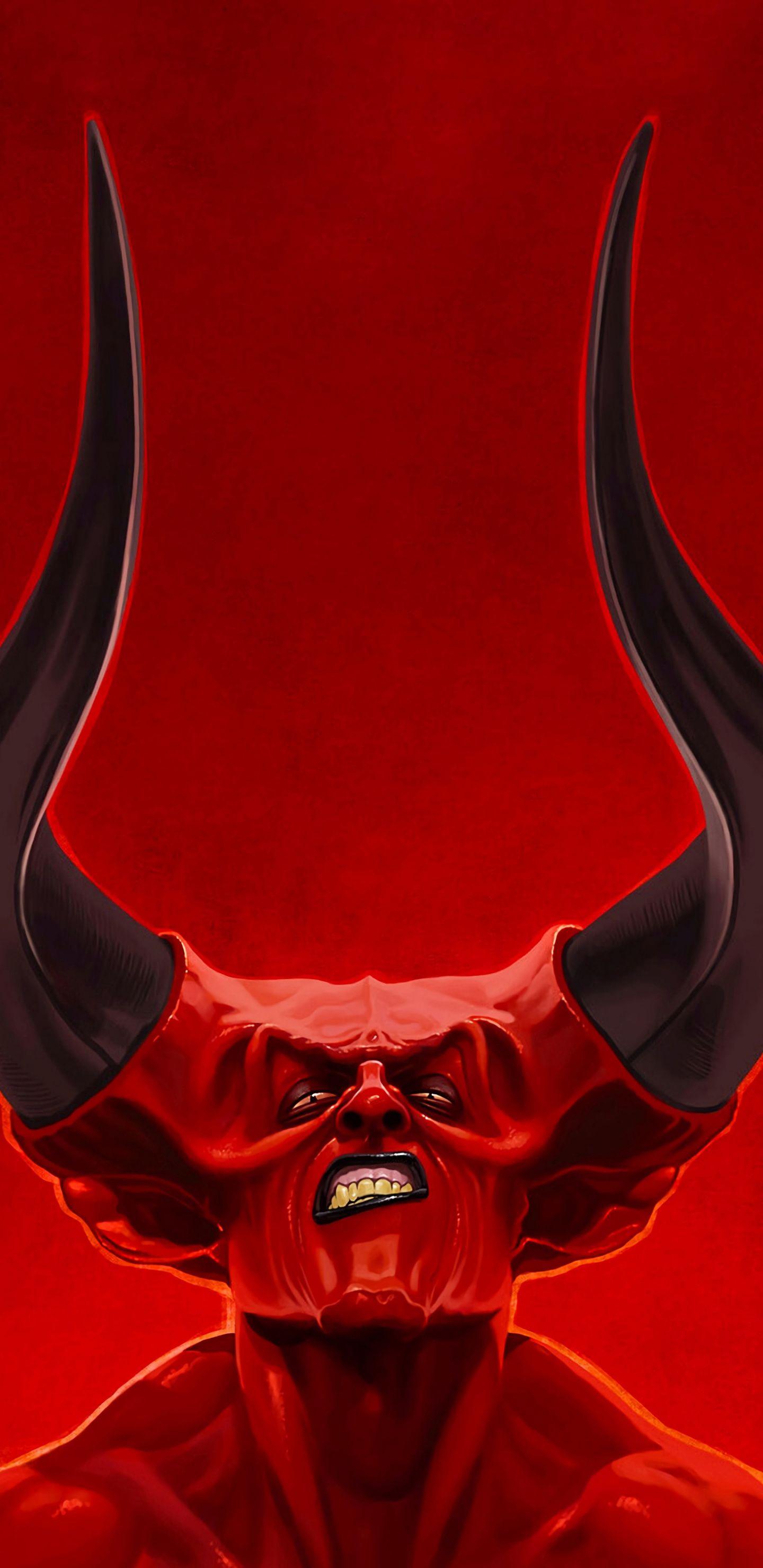 1440x2960 Red Demon Big Sharp Horns Fantasy Art Wallpaper Demon Joker Wallpapers Wallpaper Devil hd wallpaper for mobile