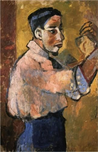Young Man with a Goatee - Natalia Goncharova (Russian: 1881 - 1962) - Fauvism 1907