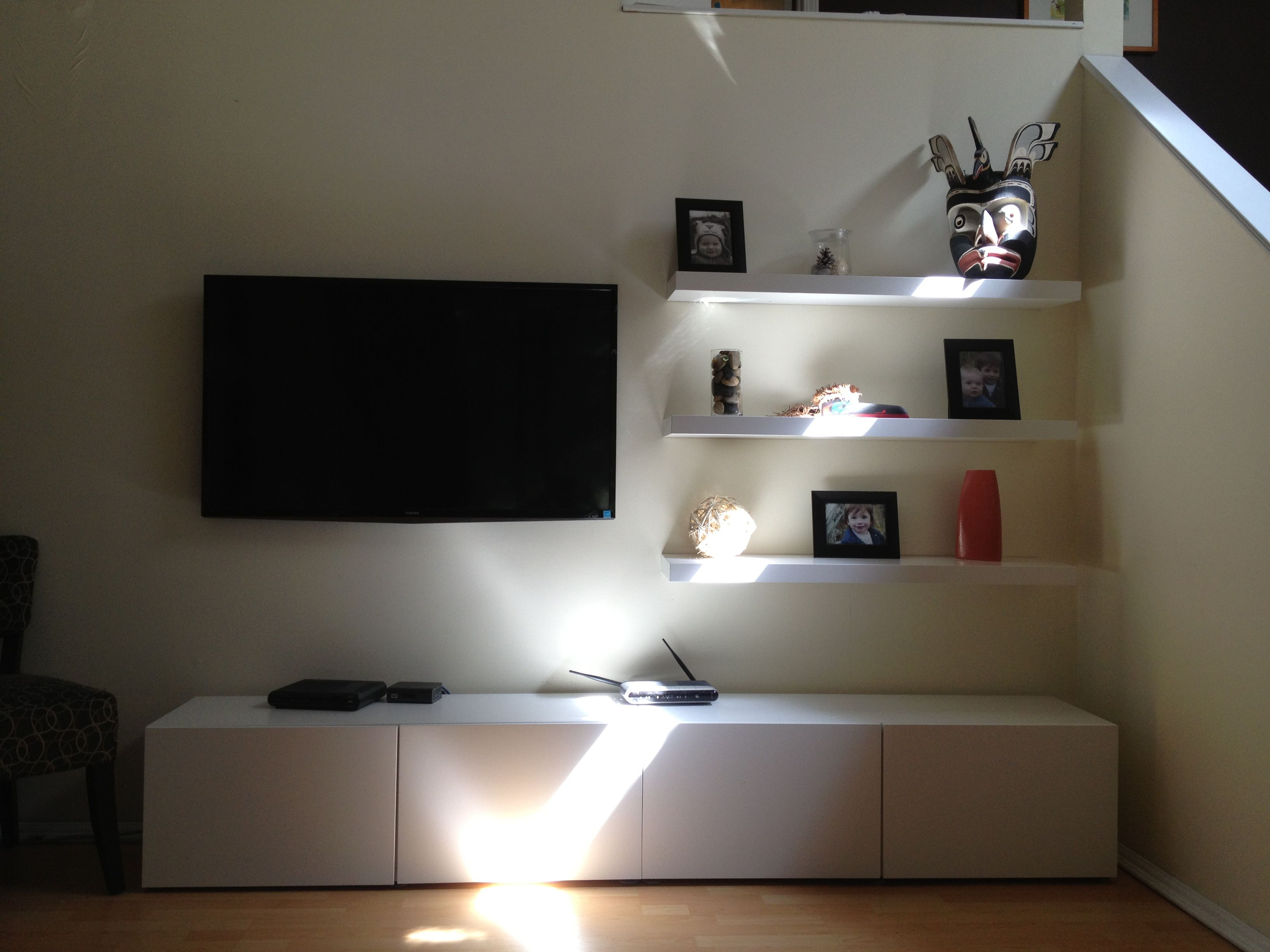 budget entertainment unit ikea besta and lack shelves. Black Bedroom Furniture Sets. Home Design Ideas