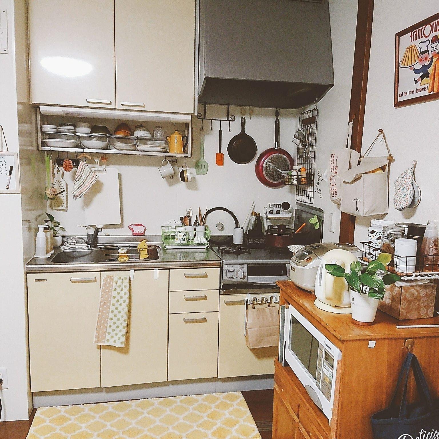 一人暮らしの狭いキッチン向け収納方法 レイアウト実例 2020