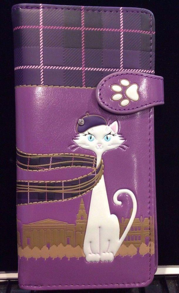 SCOTTISH CAT PURPLE ZIP AROUND ORGANIZER  WALLET SHAGWEAR NWT & GIFT BOX #SHAGWEAR #BifoldWallet