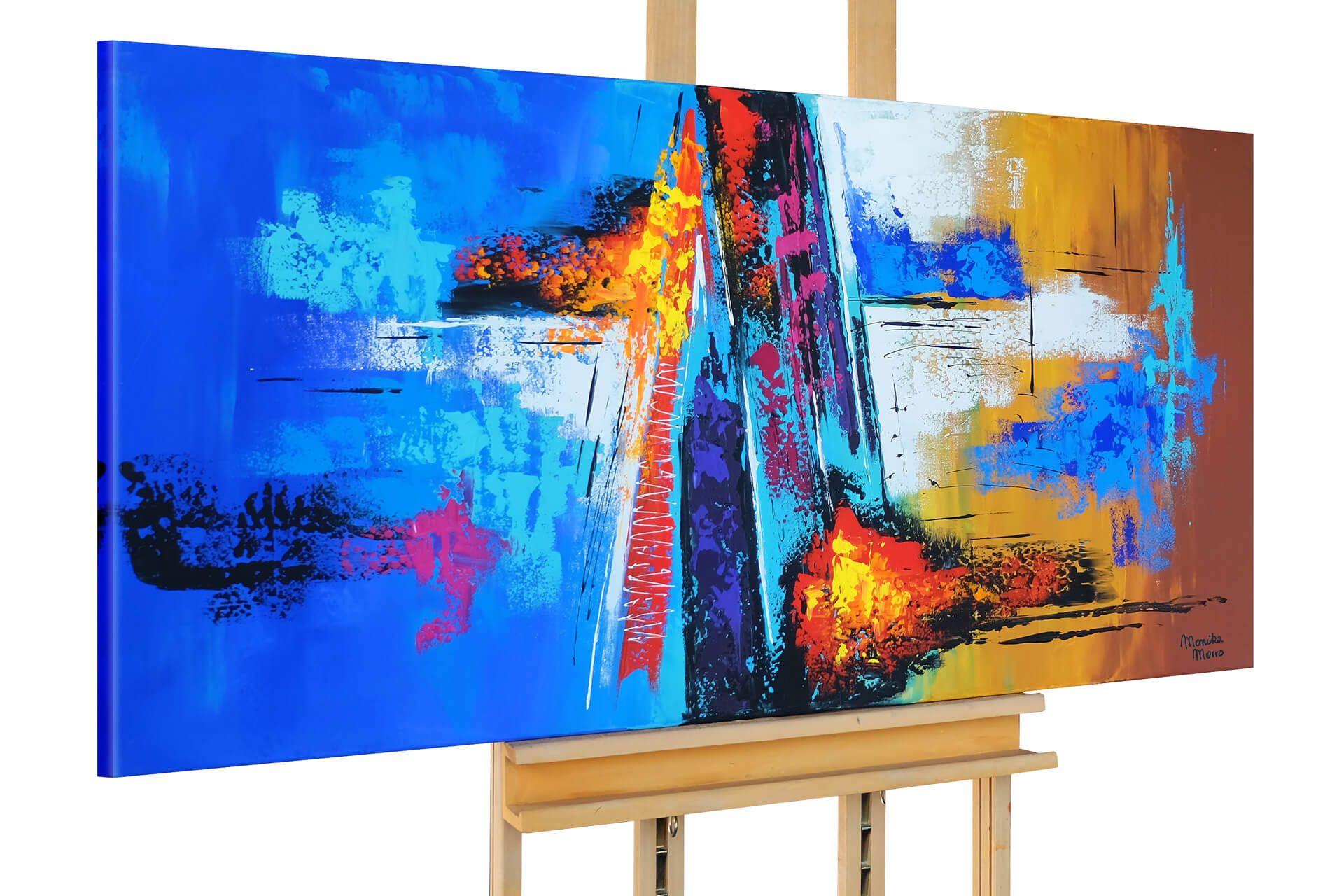 Acryl Gemälde /'SKYLINE BUNT MODERN/'HANDGEMALTLeinwand Bilder 120x60cm