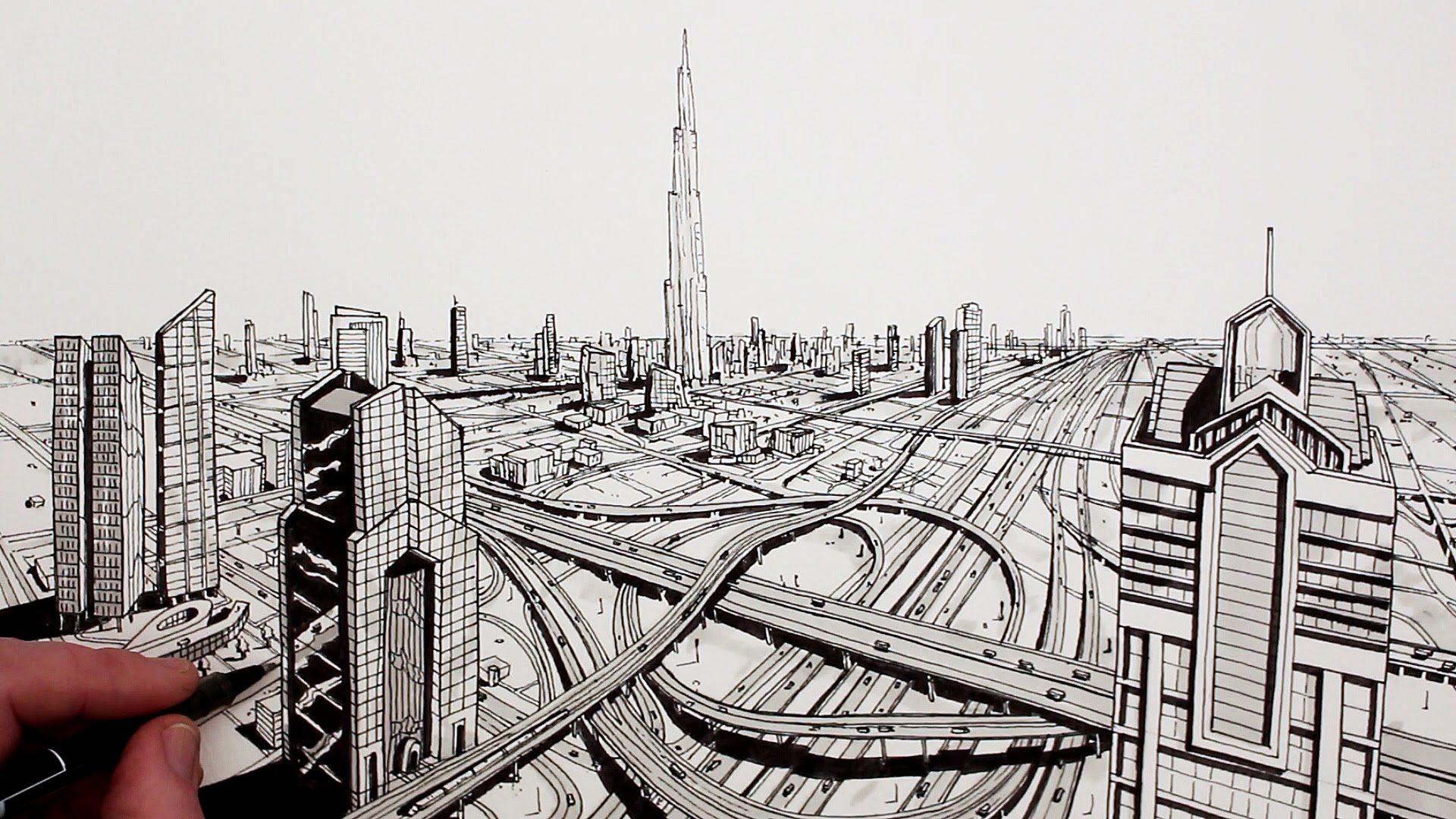 How To Draw Dubai City In Perspective City Drawing Dubai City Youtube Art Tutorials