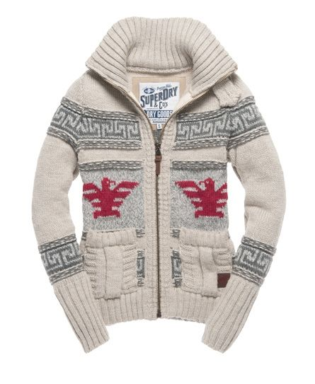 7344992154 New Womens Superdry Big Zip Buffalo Knit Oyster Blend Ivory KVH ...
