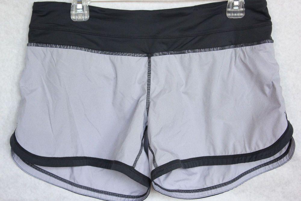Lululemon 8 Groovy Run Shorts Tonka Stripe Coal Gray Inner Panty Pocket #Lululemon #Shorts