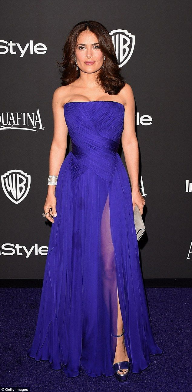 Salma Hayek slips into a strapless purple number at Golden Globes ...