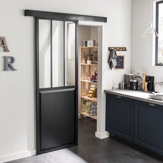 Porte Coulissante Aluminium Noir Atelier Verre Clair Artens, H.204 X