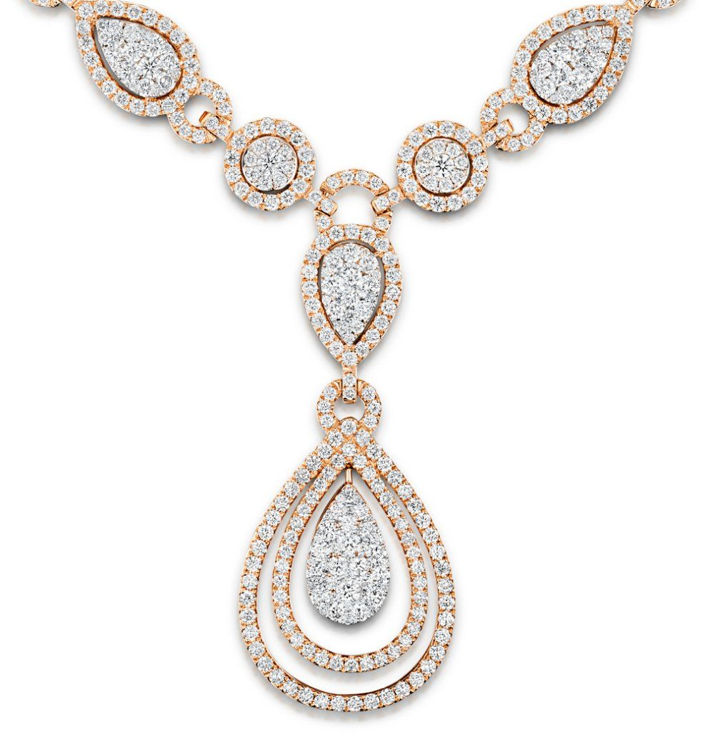 Diamond necklace pyrus halo 1100ct in 18k rose gold