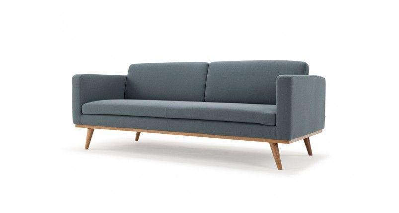Johan, 3-seater sofa, Lux Smoke Blue, Smoked Oak Legs