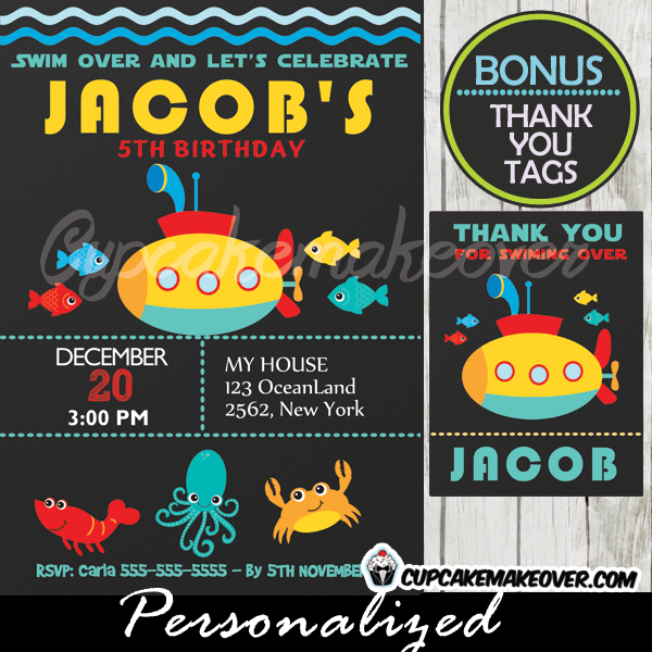 Submarine Under The Sea Birthday Invitation Boys Personalized Cupcakemakeover
