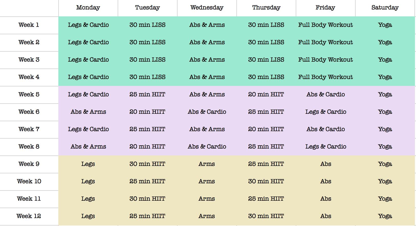 kayla itsines workout calendar  bbg  workoutcalendar