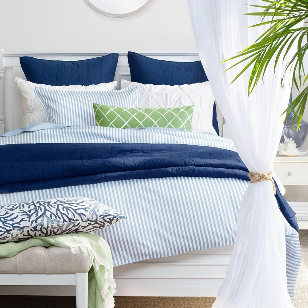 Bedroom Inspiration And Bedding Decor The Larkin Blue Duvet Cover Crane And Canopy In 2020 Blue Bedding Bed Decor Blue Duvet Cover