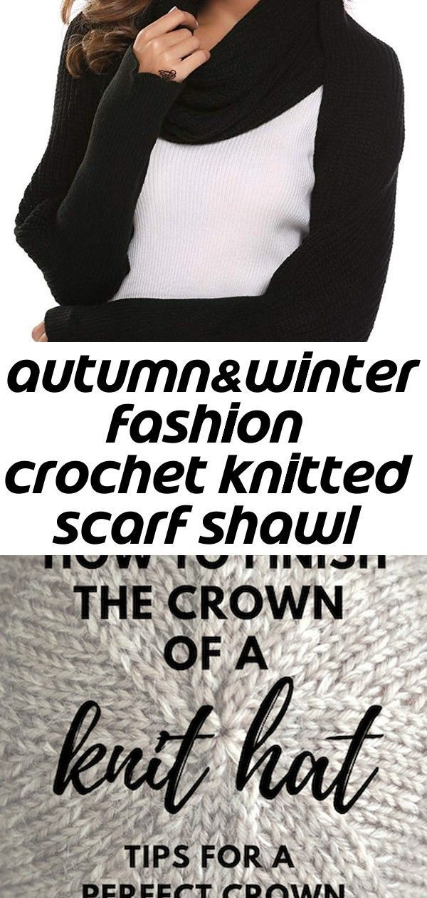 Photo of Autumn&winter fashion crochet knitted scarf shawl with sleeves 7