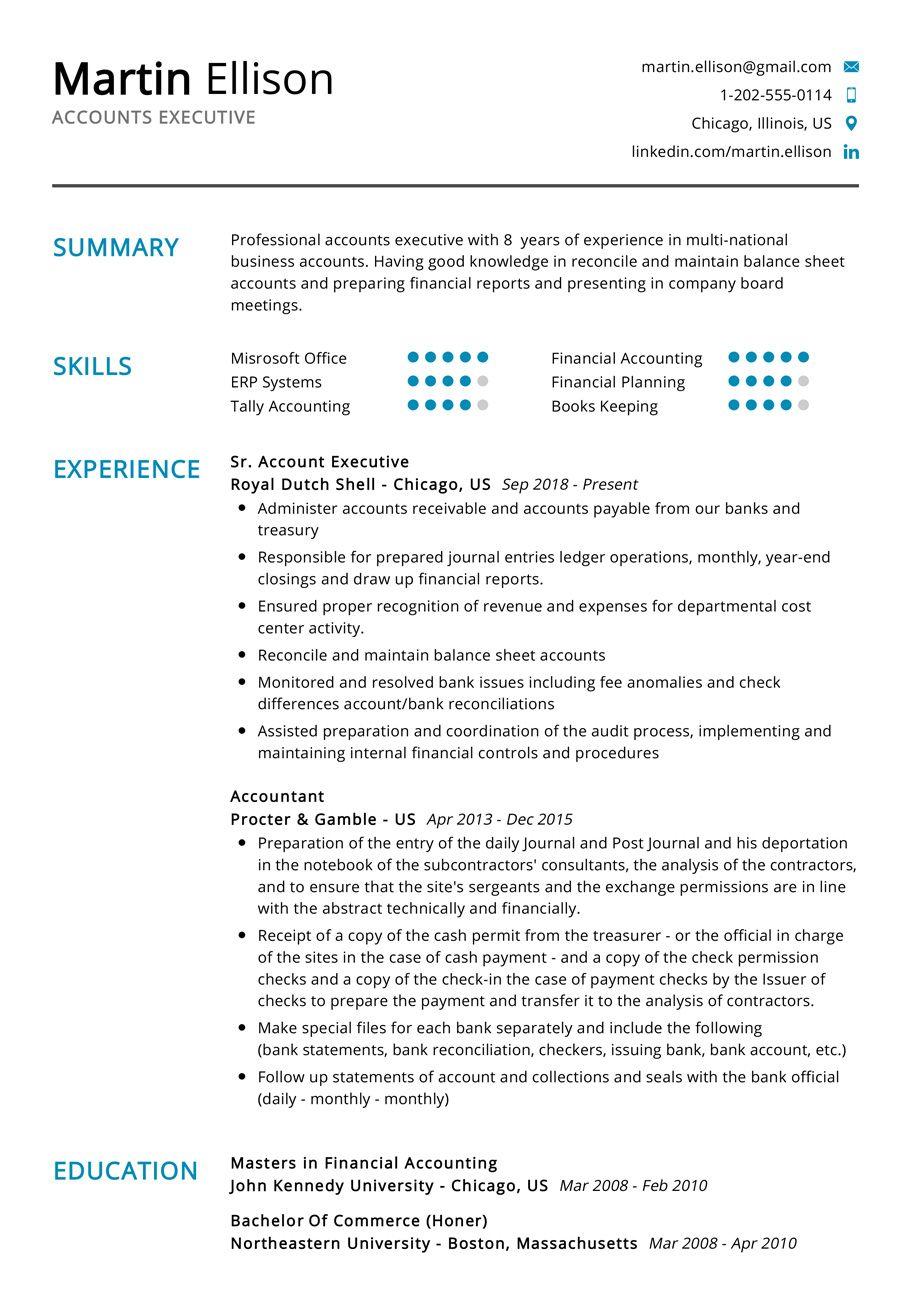 Accounts Executive Resume Example in 2020 Executive