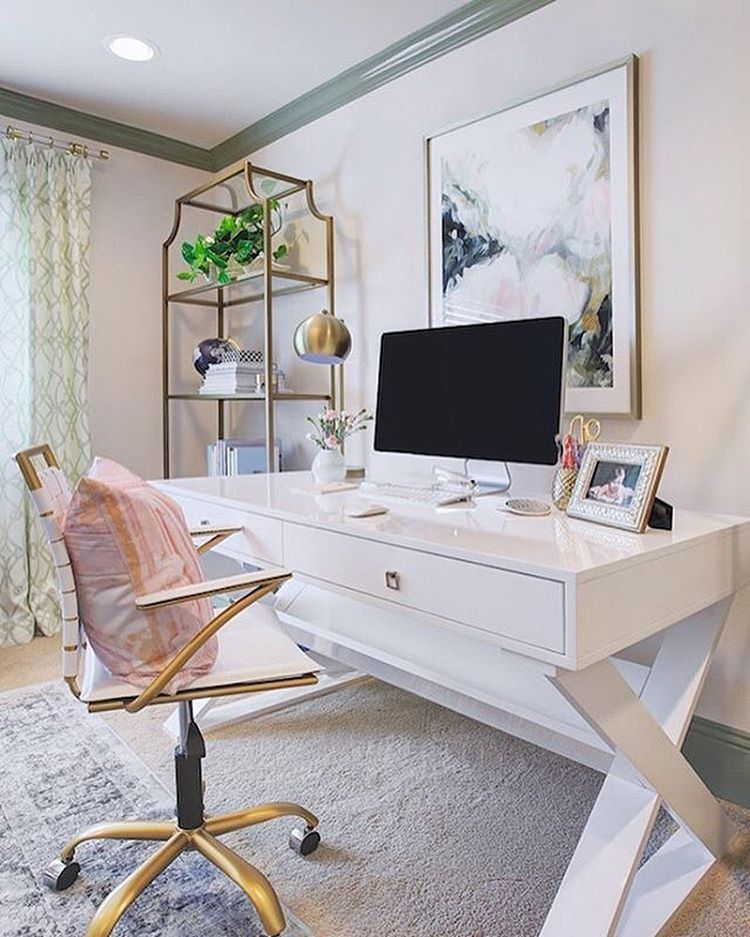 20 Inspiring Home Office Design Ideas For Small Spaces: Feminine Home Offices, Home