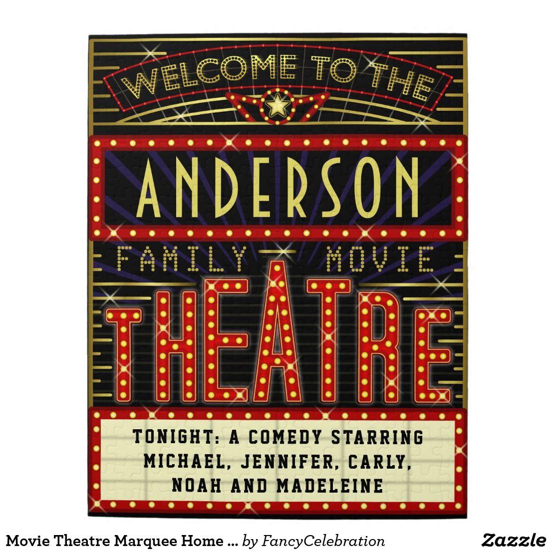 Movie Theatre Marquee Home Cinema | Custom Name Jigsaw Puzzle ...