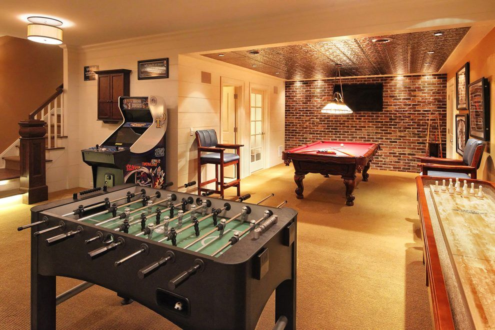 Basement Game Room Basement Traditional With Brick Accent Wall Pinball Machine Pressed Tin Game Room Decor Game Room Basement Game Room Family