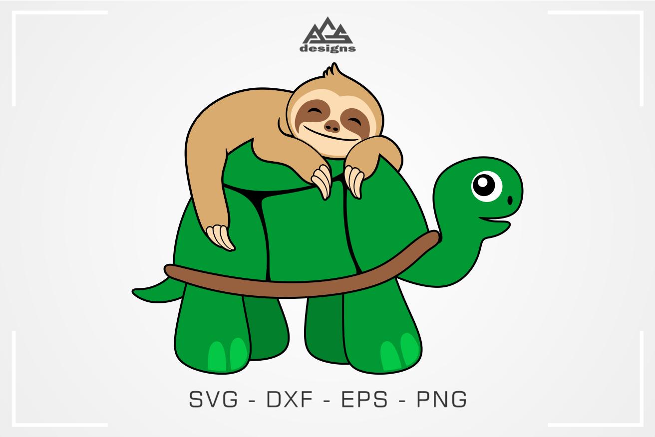 Sloth Sleeping on Turtle Svg Design Sloth sleeping, Svg