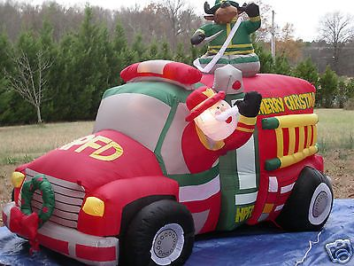 New 7 1 2 39 animated firetruck lighted christmas airblown for Motor for inflatable decoration