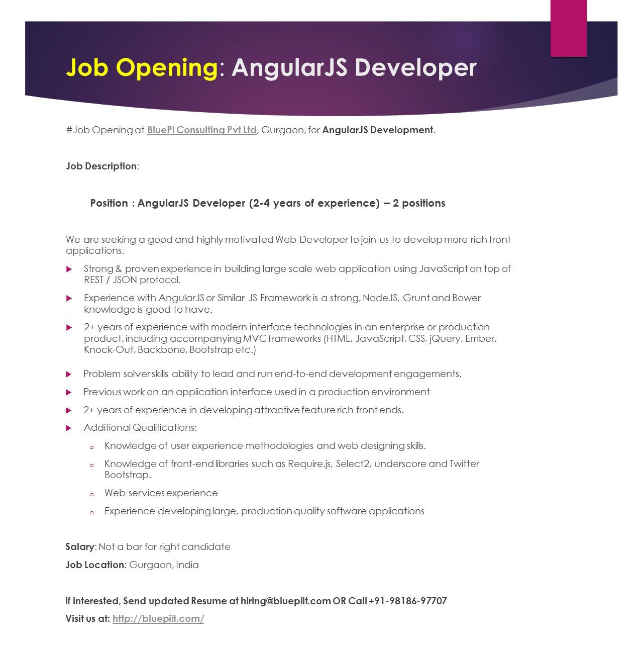 We Are Hiring Angularjs Developer  Years Of Experience Job