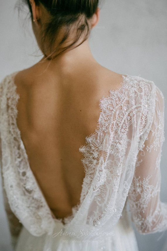 Long sleeve wedding dress, Sheath wedding dress, Sexy Lace wedding dress, Backless wedding dress, Silk Boho Bohemian wedding dress 0096