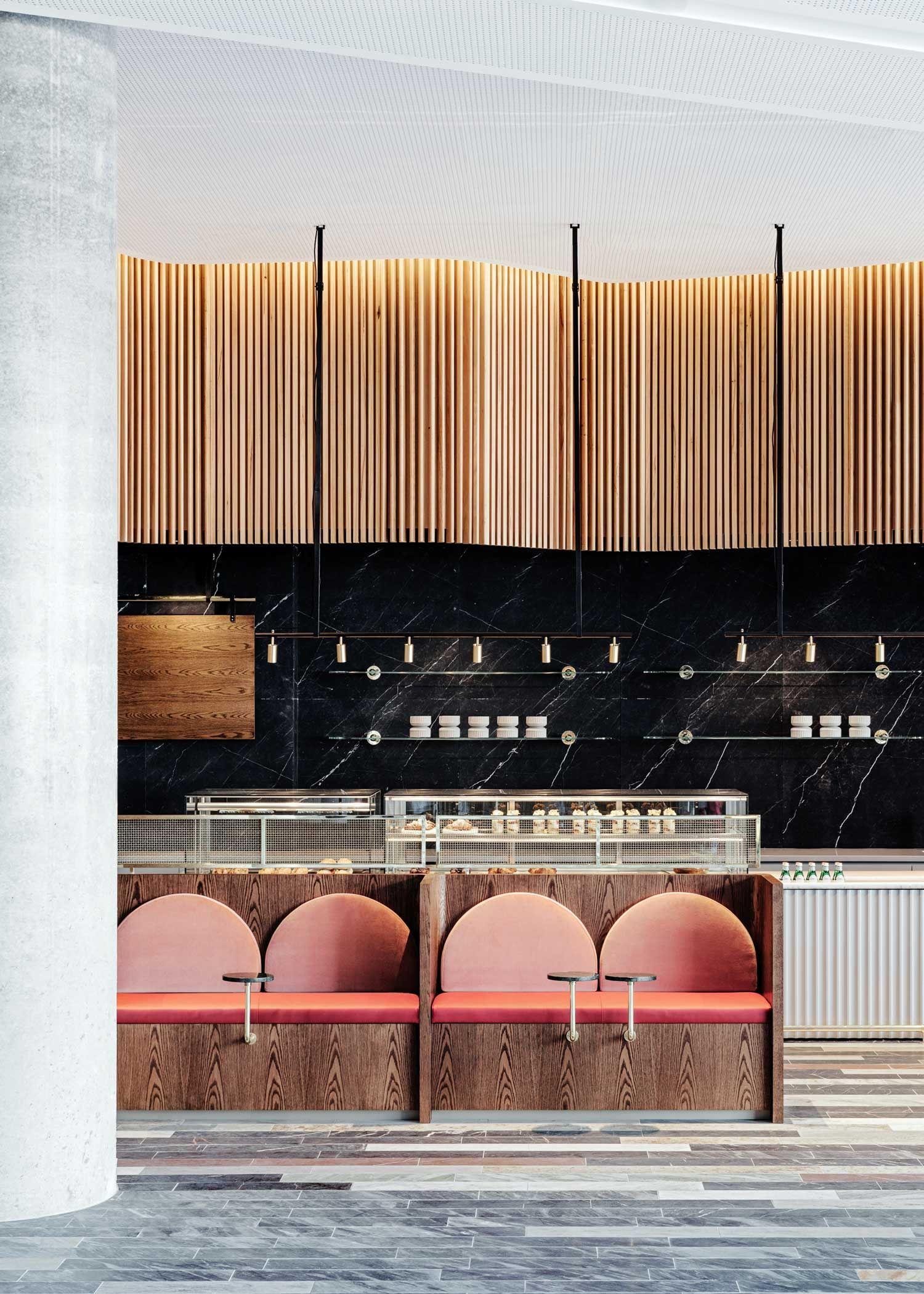 Inserted Into The Ground Floor Of The New Commonwealth Bank Office Building Studio Tate Has Designed Cafe Design Restaurant Interior Design Restaurant Design