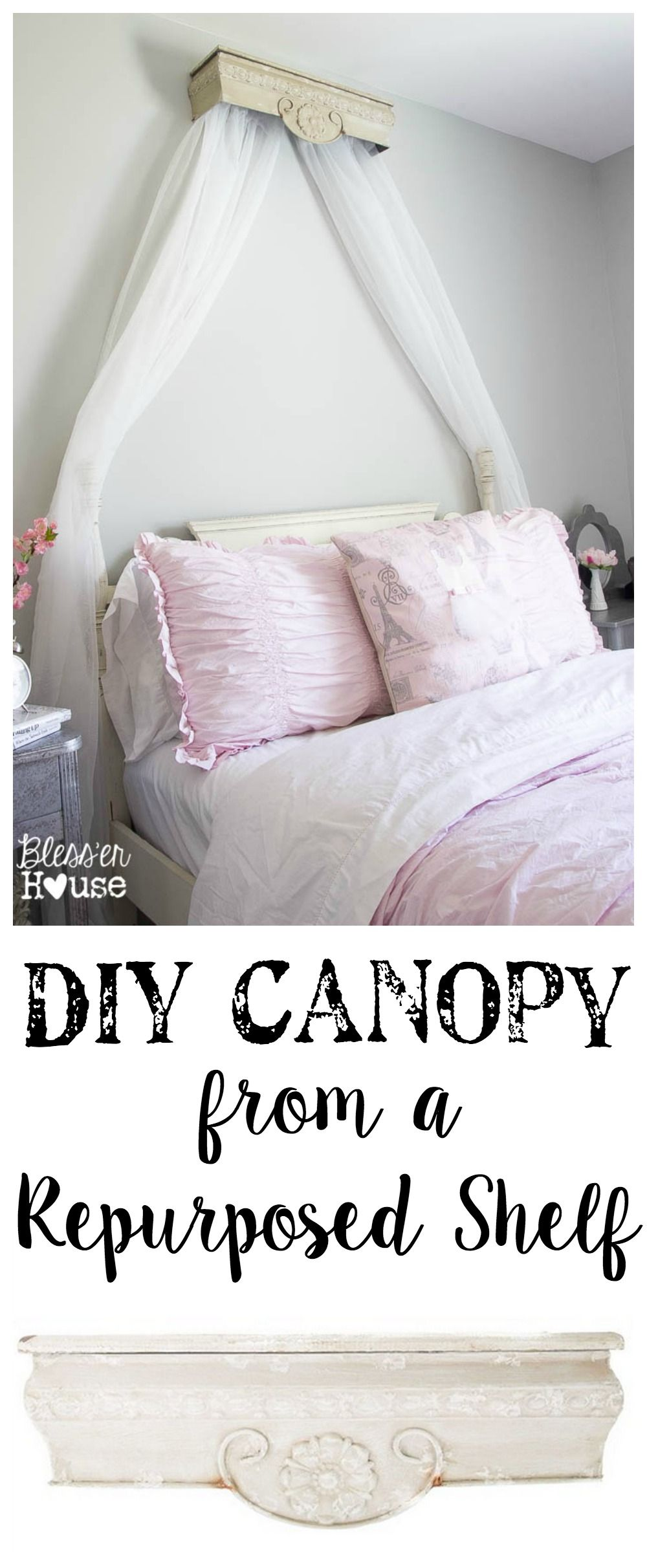 DIY Canopy Crown from a Repurposed Shelf  sc 1 st  Pinterest & DIY Canopy Crown from a Repurposed Shelf | Diy canopy Rh baby and ...