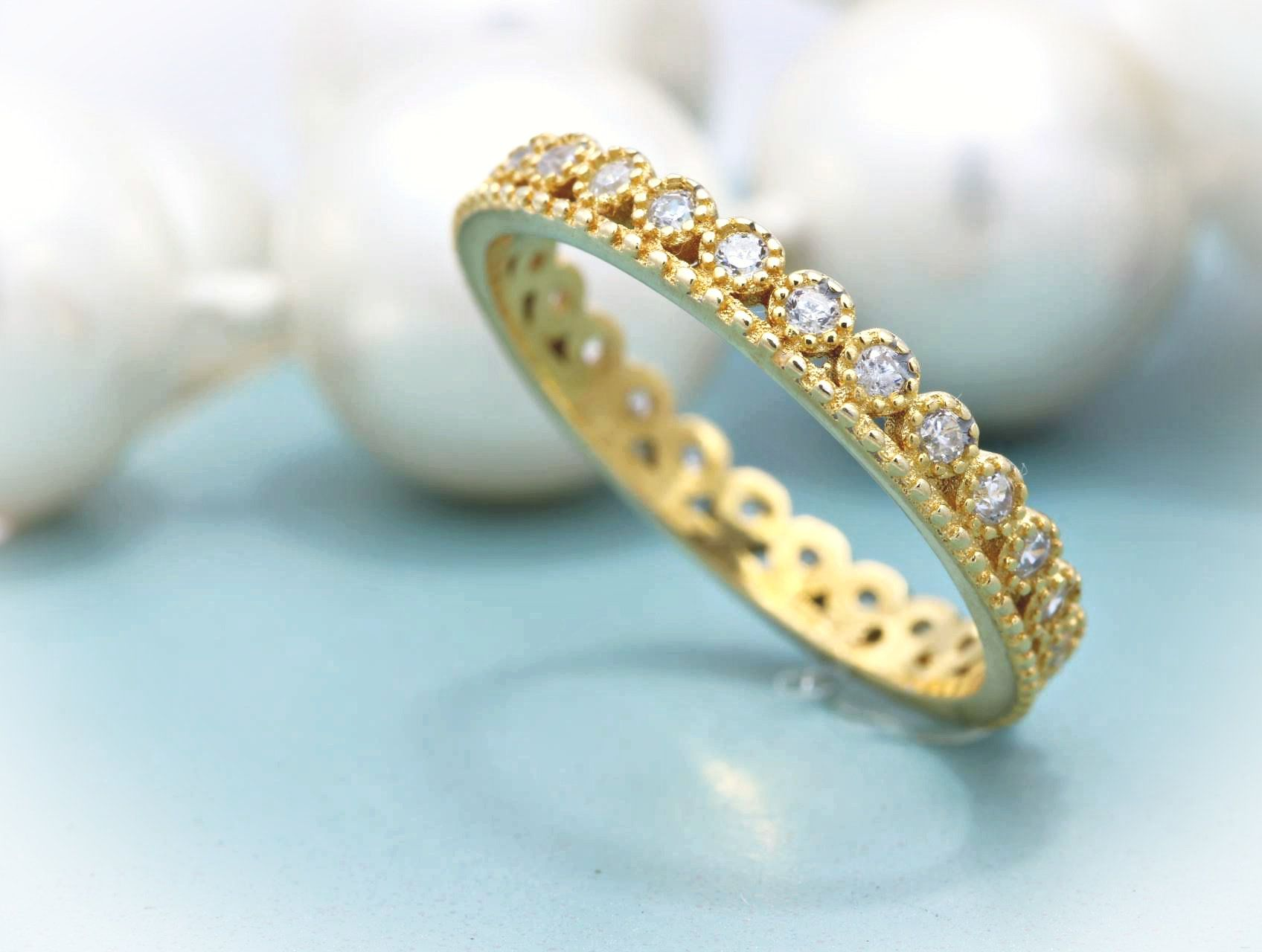 Yellow Gold Plated Cz Crown Band 925 Sterling Silver CZ