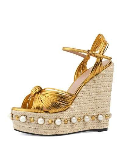 449c0aaf GUCCI Barbette Knotted Espadrille Wedge Sandal, Gold. #gucci ...