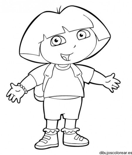 Dibujo de Dora La Exploradora con mochila   Personajes de cuentos ...