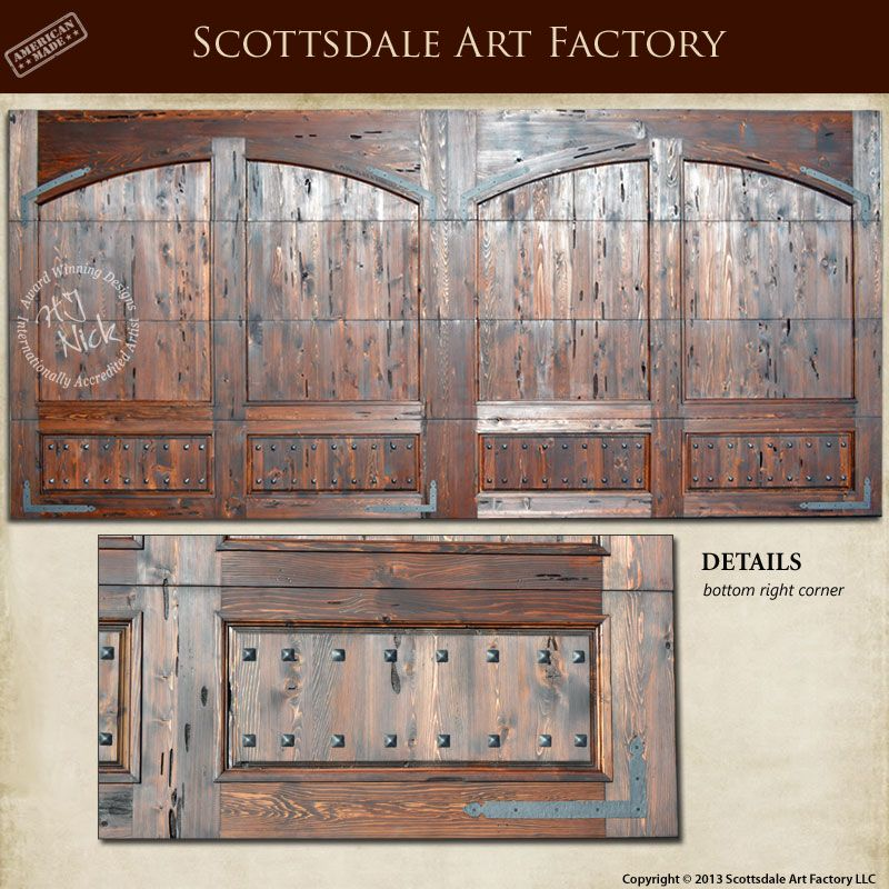 Garage Door Custom Door Solid Wood Double Garage Door With Wrought Iron  Clavos, Brackets,