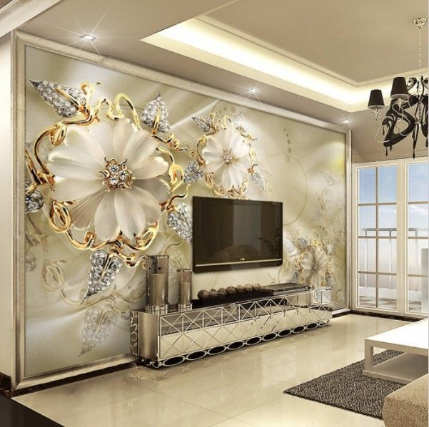 3d Gold Diamond Floral Jewelry Wall Mural For Home Or Business Custom Photo Wallpaper Wall Wallpaper Bedroom Murals