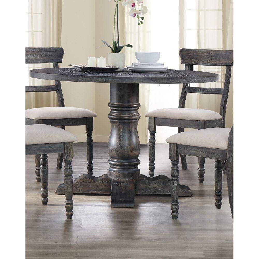 Best Master Furniture Weathered Grey Round Dining Table Gray In 2020 Grey Round Dining Table Grey Dining Tables Round Dining Table