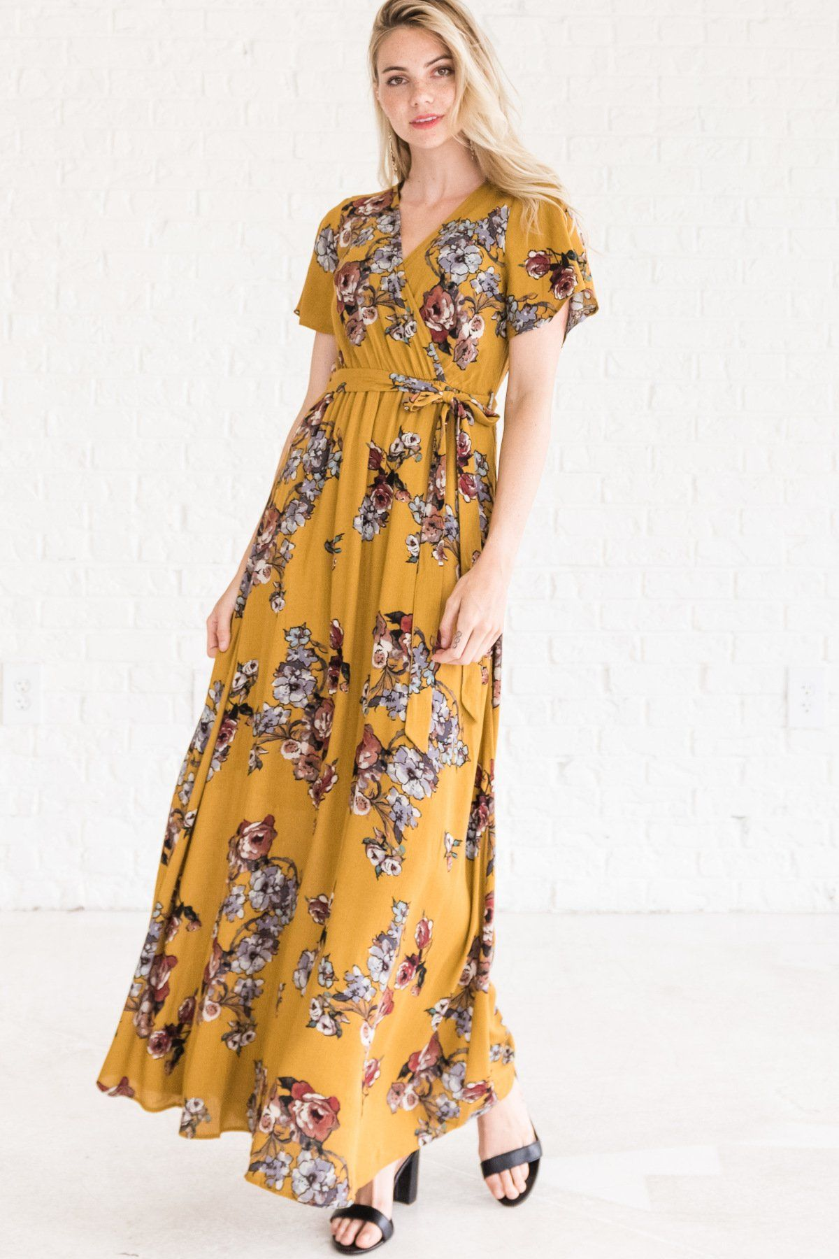 b529b2c1d603 If Only Mustard Floral Maxi Dress in 2019 | •bella ella style ...