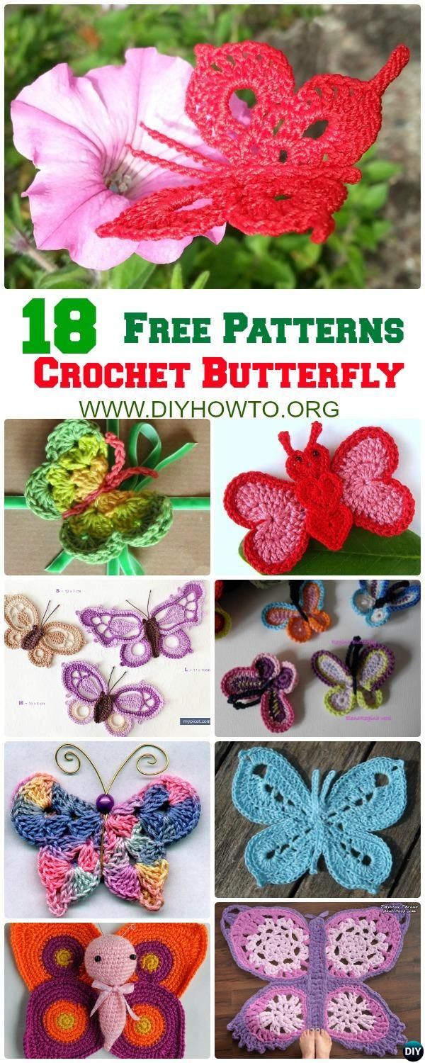 18 #Crochet #Butterfly Free Patterns [Picture Instructions] via ...
