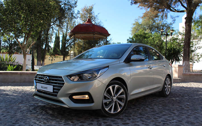 Download wallpapers hyundai accent 2018 4k new silver for Silver accent wallpaper