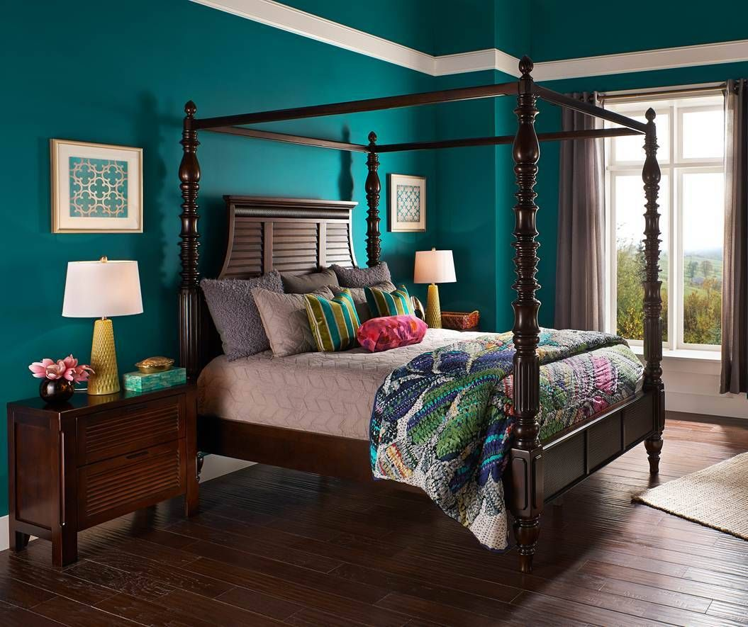 A richly painted teal bedroom is full of globally-inspired ...