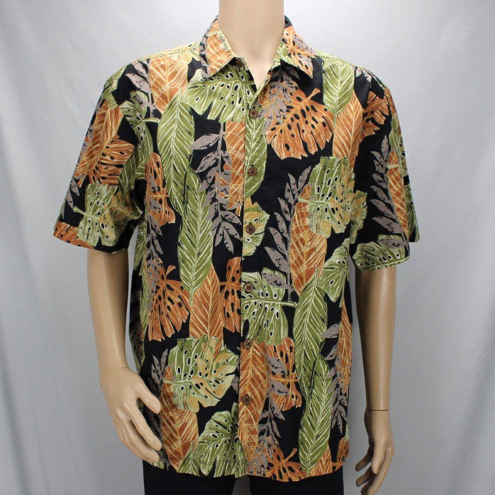 f53dd870 Cooke Street Black Large Hawaiian Shirt Colored Leaves Aloha #CookeStreet # Hawaiian