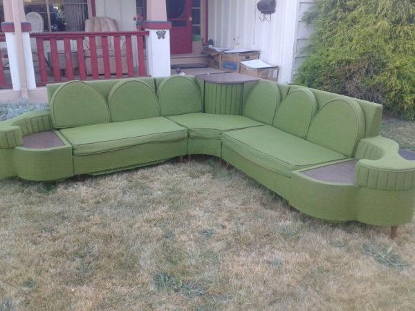 1950s Style Corner Sofa Retro Home Decor Mid Century Furniture Living Space Decor