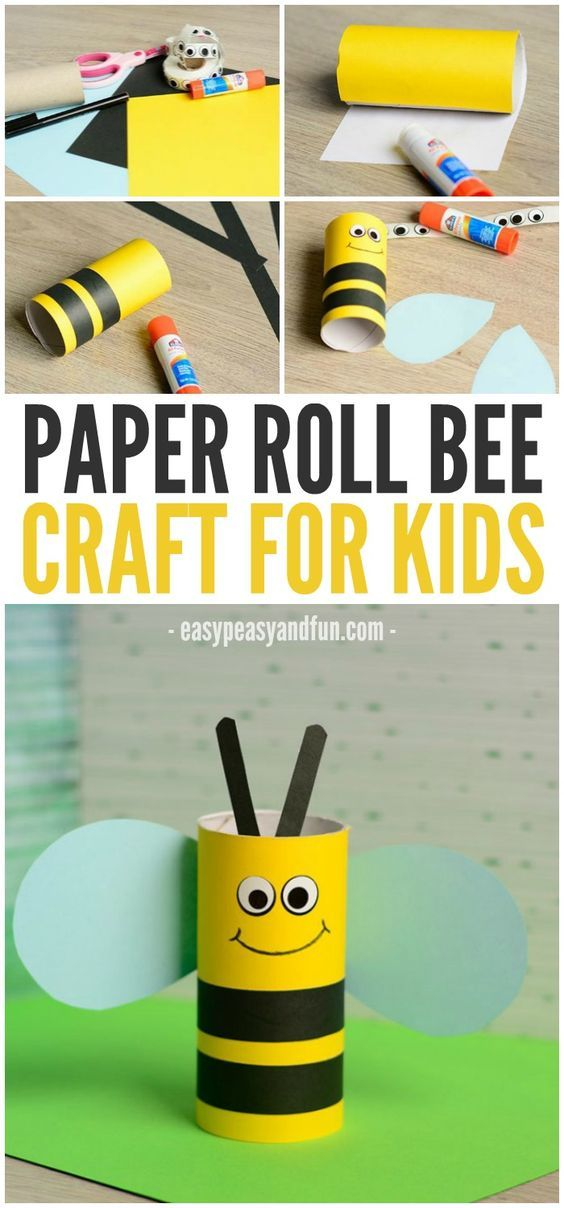 Cute Toilet Paper Roll Bee Craft For Kids Kid Crafts Pinterest