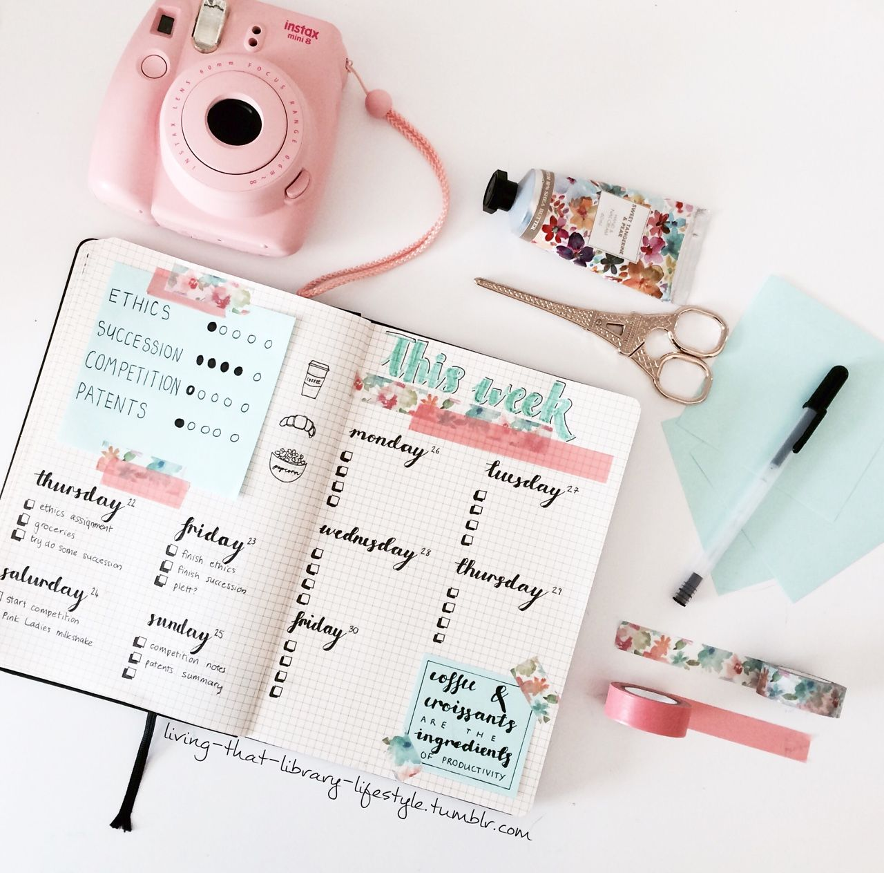 """living-that-library-lifestyle: """"Coffee & croissants are the ingredients of productivity ☕️ bujo spread for this week and the next ✨ """""""